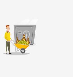 Business man depositing money in bank in safe vector
