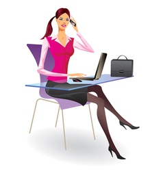 Business woman with laptop and smartphone vector