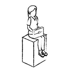 Businesswoman isometric avatar character sitting vector