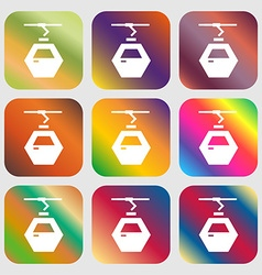 Cableway cabin icon Nine buttons with bright vector