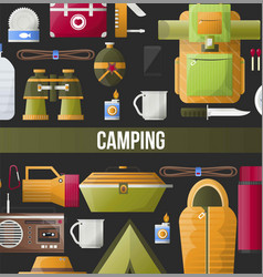 Camping adventure poster for summer camp club or vector