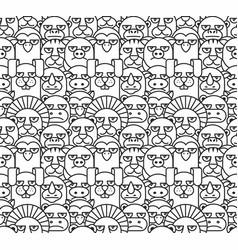 cartoon animals pattern seamless vector image vector image