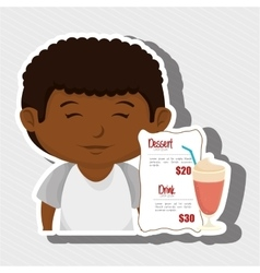 cartoon boy menu food drink vector image