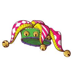 cartoon fools crown with bells symbol april 1 vector image