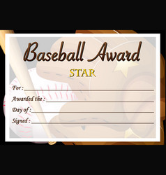 certificate template for baseball award vector image