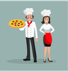 Chef is a man and a woman with pizza vector