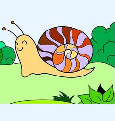children color slug snail in nature vector image