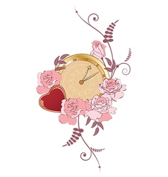 Clock heart and roses vector