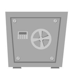 Closed metal bank safe cartoon vector