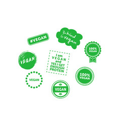collection various signs on vegan theme be vector image