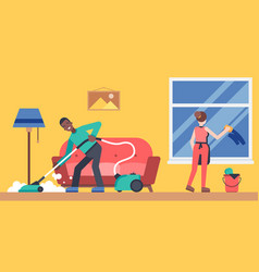 Colourful home cleaning room vector