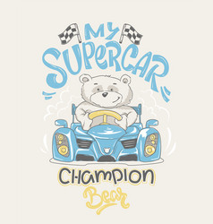 Cool bear driving a car cartoon vector