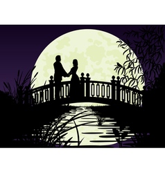Couple on bridge vector image