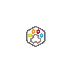 Creative hexagon dog paw logo design vector