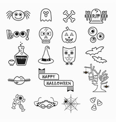 Cute halloween black line icons set on white vector