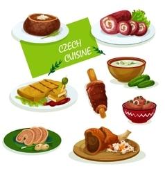 Czech cuisine dinner dishes cartoon menu design vector image vector image