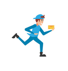 Delivery worker running with envelope vector