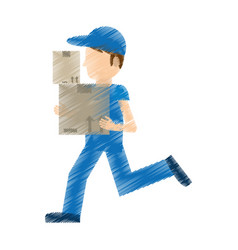 drawing man delivery running box work vector image