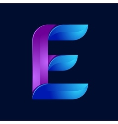 E letter volume blue and purple color logo design vector