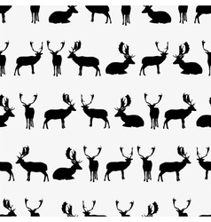 fallow deer black silhouette seamless pattern vector image
