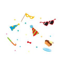 flat cartoon party symbols set vector image