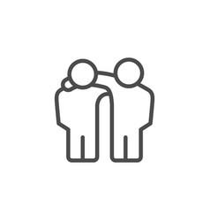 Friends hug line outline icon vector