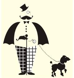 Fun Gentlemanwith a dog vector