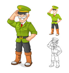 General Army Cartoon Character with Salute Hand vector