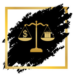 Gift and dollar symbol on scales golden vector