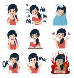 girl in many gestures vector image