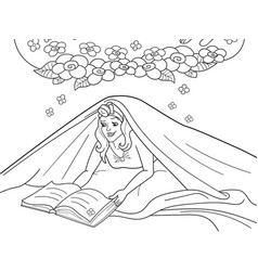 Girl reading book with flashlight under the vector