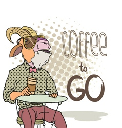 goat with cup coffee vector image