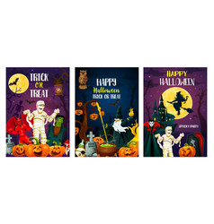 halloween trcik or treat party posters vector image
