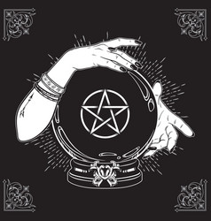 Hand drawn magic crystal ball with pentagram star vector