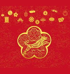 Happy chinese new year and year of dog card is vector