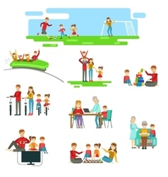 Happy Family Having Fun Together Set Of vector