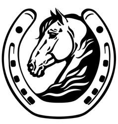 Head horse in horseshoe vector