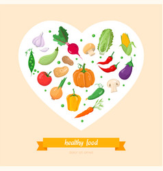 healthy food vegetables - modern colorful vector image