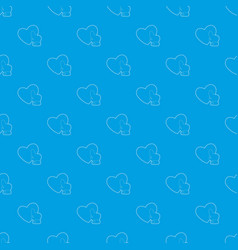 heart touch pattern seamless blue vector image