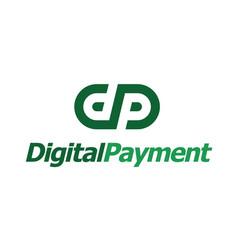 initial dp letter digital payment logo design vector image