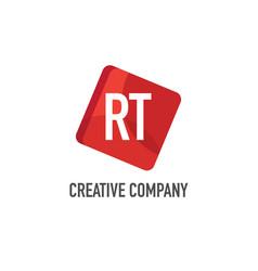 initial letter rt logo template design vector image