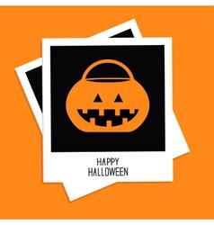 Instant photo with rrick or treat pumpkin bucket vector