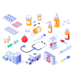 Isometric first aid kit health care medical pills vector