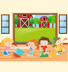 kids folding papers in the house vector image