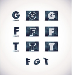 Letter g f t logo icon set vector image
