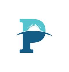 Letter p sun rise horizon logo vector