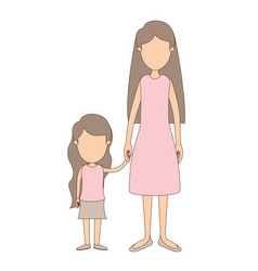 light color caricature faceless full body mother vector image