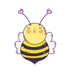 little bee kawaii character vector image