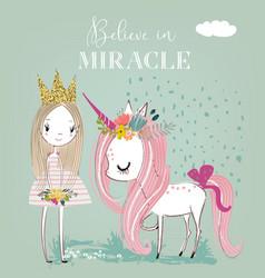 Little cartoon white fairytale unicorn with vector