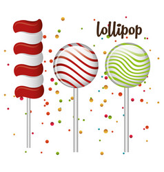 lollipop sweet and confetti design graphic vector image